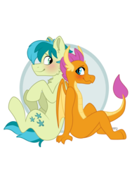 Size: 774x1032   Tagged: safe, artist:spindlespice, sandbar, smolder, dragon, earth pony, pony, blushing, cutie mark, dragoness, female, interspecies, male, shipping, smiling, smolbar, stallion, straight, tail, teenager, wings