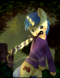 Size: 1000x1300 | Tagged: safe, artist:norychan, oc, oc only, oc:code sketch, pony, unicorn, battle damage, blood, clothes, commission, cut, cutie mark, hoodie, magic, male, mouth hold, scratches, solo, stallion, sword, weapon, ych result