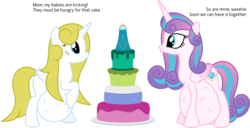 Size: 12540x6400 | Tagged: safe, artist:parclytaxel, princess flurry heart, oc, alicorn, pony, .svg available, absurd resolution, adult, alicorn oc, blank flank, cake, dialogue, female, food, hoof on belly, hyper, hyper pregnancy, kicking, mama flurry, mare, mother and daughter, multiple pregnancy, offspring, offspring's offspring, older, older flurry heart, parent:oc:shimmering glow, parent:princess flurry heart, parents:canon x oc, pregnant, simple background, transparent background, vector