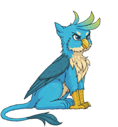 Size: 359x387 | Tagged: safe, artist:shydale, gallus, griffon, behaving like a bird, behaving like a cat, birb, birds doing bird things, catbird, chest fluff, cute, flockmod, fluffy, frown, gallabetes, glare, griffons doing bird things, grumpy, male, paws, puffy cheeks, scowl, simple background, sitting, solo, white background