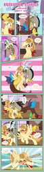 Size: 1919x7378   Tagged: safe, artist:estories, discord, oc, oc:alice goldenfeather, draconequus, pegasus, pony, comic:find yourself, blushing, comic, cutie mark, sky, train station, yelling