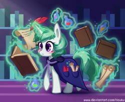 Size: 800x654 | Tagged: artist:riouku, blushing, book, cape, clothes, clover the clever, feather, female, magic, mare, paper, pony, safe, shelf, smiling, solo, telekinesis, unicorn, writing