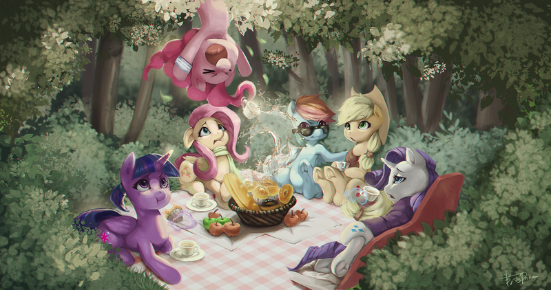 Size: 4096x2160 | Tagged: ><, alicorn, alternate hairstyle, annoyed, apple, applejack, armband, artist:theprince, bread, clothes, confused, donut, earth pony, eclair, eyes closed, fainting couch, featured image, female, fluttershy, food, forest, frog (hoof), frown, glare, hoof hold, in which pinkie pie forgets how to gravity, levitation, lidded eyes, looking up, magic, mane six, mare, muffin, nature, :o, open mouth, pegasus, picnic, picnic blanket, pinkie being pinkie, pinkie physics, pinkie pie, pony, ponytail, rainbow dash, raised eyebrow, rarity, safe, scared, scarf, short mane, side, signature, smiling, splashing, sunglasses, surprised, :t, telekinesis, twilight sparkle, twilight sparkle (alicorn), unamused, underhoof, unicorn, upside down, wide eyes, worried, xd