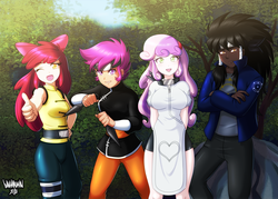 Size: 5000x3571   Tagged: safe, artist:danmakuman, apple bloom, scootaloo, sweetie belle, oc, oc:midnight radiance (sixpathspony), human, absurd resolution, anime, clothes, commission, cosplay, costume, crossover, cutie mark crusaders, female, humanized, humanized oc, kunoichi, naruto, ninja, one eye closed, open mouth, pants, shuriken, smiling, wink