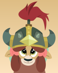 Size: 3000x3756 | Tagged: safe, artist:cloudyglow, yona, cute, helm of yickslur, helmet, part of a set, solo, yonadorable