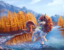 Size: 2000x1571 | Tagged: safe, artist:nemo2d, autumn blaze, kirin, sounds of silence, female, forest, looking back, open mouth, river, scenery, scenery porn, smiling, solo, splashing, tree, water