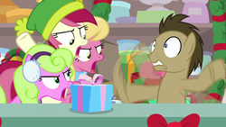 Size: 1280x720 | Tagged: beanie, best gift ever, daisy, doctor whooves, earth pony, flailing, flower wishes, great moments in animation, hat, lily, lily valley, pony, present, roseluck, safe, screencap, shocked, spoiler:best gift ever, time turner