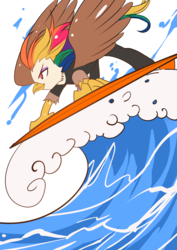 Size: 990x1400 | Tagged: safe, artist:bakki, oc, oc:rainbow feather, griffon, hippogriff, interspecies offspring, magical lesbian spawn, offspring, parent:gilda, parent:rainbow dash, parents:gildash, solo, sports, surfboard, surfing, water, wave, wetsuit