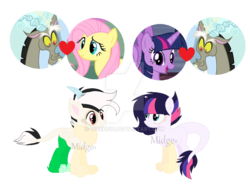 Size: 1024x757 | Tagged: alicorn, artist:vixenfin, base used, deviantart watermark, discolight, discord, discord gets all the mares, discoshy, draconequus hybrid, female, fluttershy, hybrid, interspecies offspring, male, obtrusive watermark, oc, offspring, parent:discord, parent:fluttershy, parents:discolight, parents:discoshy, parent:twilight sparkle, safe, shipping, simple background, straight, transparent background, twilight sparkle, twilight sparkle (alicorn), watermark