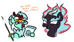 Size: 570x324 | Tagged: safe, artist:jargon scott, bon bon, lyra heartstrings, sweetie drops, kirin, nirik, bon bon is not amused, bust, dialogue, female, food, homestar runner, hoof hold, kirin-ified, l.u.l.s., marshie, marshmallow, mundane utility, simple background, species swap, stick, this will end in fire, unamused, walking campfire, white background