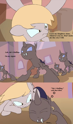 Size: 960x1624 | Tagged: angry, artist:kanashiipanda, beware the nice ones, canterlot, changeling, cropped, derpy hooves, dialogue, edit, epic derpy, guardian (web video), implied amethyst star, implied dinky, mama bear, ouch, pain, pwned, safe, tempting fate