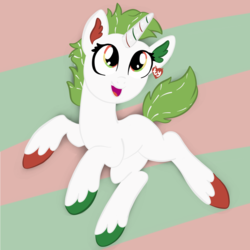 Size: 2100x2100 | Tagged: safe, artist:sjart117, oc, oc only, oc:unicorn candy cane, pony, unicorn, christmas, colored hooves, ear fluff, ear tag, female, festive, green mane, holiday, mare, multicolored eyes, plushie, ponified, smiling, solo, tinsel, toy, toy interpretation, ty, unshorn fetlocks, white coat, white fur
