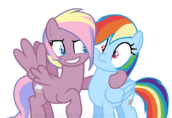 Size: 866x595 | Tagged: safe, artist:ipandacakes, rainbow dash, oc, oc:gusty gale, pegasus, pony, base used, cheek squish, duo, female, mare, offspring, parent:bow hothoof, parent:windy whistles, parents:windyhoof, simple background, sisters, squishy cheeks, transparent background