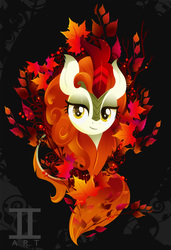 Size: 1000x1466 | Tagged: safe, artist:ii-art, autumn blaze, kirin, sounds of silence, bust, female, horn, leaf, lineless, looking at you, maple leaf, portrait, smiling, solo