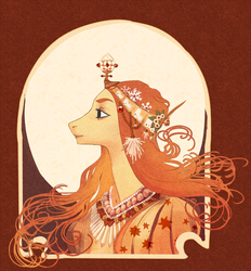 Size: 900x970 | Tagged: alphonse mucha, artist:weird--fish, bust, clothes, crown, female, fine art parody, jewelry, mare, necklace, ponified, pony, portrait, regalia, safe, solo