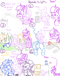 Size: 1280x1611 | Tagged: adorkable, adorkable twilight, alicorn, artist:adorkabletwilightandfriends, comic, comic:adorkable twilight and friends, cookie, cookie jar, cute, dj pon-3, dork, dragon, elevator, finger, food, garbage bin, garden, grumpy, grumpy twilight, hand, humor, jealous, kitchen, laying down, lip bite, magic, massage, minuette, plot, pony, refrigerator, safe, sitting, slice of life, spike, starlight glimmer, telekinesis, trash, twilight sparkle, twilight sparkle (alicorn), unicorn, video game, video game controller, vinyl scratch, watering can, winning