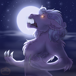Size: 2000x2000 | Tagged: safe, artist:shimazun, oc, oc:quartz horn, pony, unicorn, werewolf, claws, moon, nightmare night, scary, solo