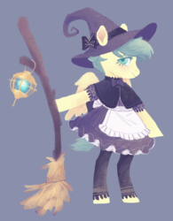 Size: 1156x1481 | Tagged: safe, artist:amphoera, oc, oc only, oc:venti via, pegasus, pony, semi-anthro, apron, blue background, broom, clothes, dress, hat, lineless, simple background, solo, witch, witch hat