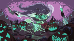Size: 3840x2160 | Tagged: safe, artist:pirill, derpy hooves, skellinore, monster pony, pony, skeleton pony, the break up breakdown, bone, female, glowing eyes, halloween, holiday, it is wednesday my dudes, jack-o-lantern, knife, magic, mare in the moon, moon, night, nightmare night, pumpkin, skeleton, solo, thorns, uwu
