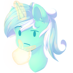 Size: 1024x1024 | Tagged: artist:melloncollie-chan, bust, ear fluff, emoji, female, glowing horn, hand, hmm, horn, lyra heartstrings, magic, magic aura, magic hands, mare, meme, pony, safe, simple background, solo, telekinesis, thinking, thinking emoji, transparent background, unicorn