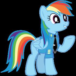 Size: 6000x6000 | Tagged: safe, artist:caliazian, rainbow dash, pegasus, pony, absurd resolution, clothes, cute, dashabetes, female, formal wear, raised hoof, simple background, smiling, solo, transparent background, underhoof, uniform, vector, wonderbolts logo
