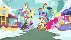 Size: 1280x720 | Tagged: auburn vision, background pony, berry blend, berry bliss, best gift ever, bon bon, caramel, clothes, daisy, dark moon, earmuffs, earth pony, emerald green, female, flower, flower wishes, friendship student, graphite, green gem, hat, lyra heartstrings, male, mare, november rain, pegasus, peppermint goldylinks, pinkie pie, pony, pronking, rainbow stars, roseluck, safe, scarf, screencap, snow, spoiler:best gift ever, stallion, sweetie drops, unicorn