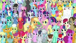 Size: 1523x861 | Tagged: alicorn, aloe, amethyst star, apple bloom, applejack, artist:jawsandgumballfan24, background six, berry punch, berryshine, big macintosh, bon bon, bulk biceps, carrot top, cheerilee, cloudchaser, colt, cupcake, cup cake, cutie mark crusaders, daisy, derp, derpy hooves, diamond tiara, dj pon-3, doctor whooves, dolphin dream, dragon, earth pony, edit, edited screencap, everypony, everypony at s5's finale, female, filly, flitter, flower wishes, fluttershy, food, friends are always there for you, glasses, golden harvest, granny smith, lemon hearts, lily, lily valley, linky, looking at you, lotus blossom, lyra heartstrings, male, mane seven, mane six, mare, mayor mare, octavia melody, pegasus, pinkie pie, pipsqueak, pokey pierce, pony, pound cake, pumpkin cake, rainbow dash, rarity, roseluck, rumble, safe, sassaflash, scootaloo, screencap, seafoam, sea swirl, shoeshine, silver spoon, smiling, snails, snips, sparkler, spa twins, spike, spring melody, sprinkle medley, stallion, starlight glimmer, sunshower raindrops, sweetie belle, sweetie drops, the cutie re-mark, thunderlane, time turner, twilight sparkle, twilight sparkle (alicorn), twinkleshine, twist, unicorn, vinyl scratch, wall of tags