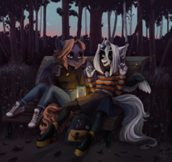 Size: 2200x2065 | Tagged: anthro, artist:weird--fish, artist:zlatavector, bag, belt, bench, boots, clothes, converse, duo, female, firefly (insect), oc, oc only, open mouth, pantyhose, pegasus, pleated skirt, safe, shoes, skirt, tree