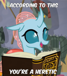 Size: 946x1081 | Tagged: safe, edit, edited screencap, screencap, ocellus, changedling, changeling, a matter of principals, book, cropped, heresy, meme, solo, text