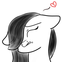 Size: 2600x2600 | Tagged: safe, artist:rainbowtashie, marble pie, best gift ever, broken hearts, bust, floating heart, floppy ears, grayscale, heart, monochrome, simple background, sketch, solo