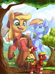 Size: 1500x2016 | Tagged: safe, artist:tsitra360, apple bloom, applejack, big macintosh, rainbow dash, earth pony, pegasus, pony, apple, apple cart, apple orchard, apple tree, axe, babe the blue ox, belt, big-apple-pony, boots, bow, cart, clothes, crossover, female, filly, folklore, food, freckles, giant pony, hair bow, hair tie, harness, hat, hoof boots, horn, looking down, looking up, lumberjack, macro, male, mare, mega applejack, multisize, open mouth, pants, paul bunyan, ponytail, raised hoof, shirt, shoes, sitting, smiling, spread wings, stallion, standing, suspenders, sweet apple acres, tack, three quarter view, tree, weapon, wings, yoke