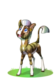 Size: 2480x3508 | Tagged: safe, artist:jackiebloom, oc, oc only, oc:kinyume, hybrid, zony, blaze (coat marking), ear piercing, earring, female, interspecies offspring, jewelry, looking up, magical lesbian spawn, offspring, pale belly, parent:daring do, parent:zecora, parents:daringcora, piercing, simple background, socks (coat marking), solo, sonic rainboom, transparent background
