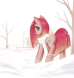 Size: 1323x1404   Tagged: safe, artist:mirroredsea, pinkie pie, earth pony, pony, clothes, female, looking at you, looking back, looking back at you, mare, pinkamena diane pie, rock farm, scarf, snow, snowman, solo