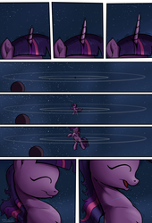 Size: 1920x2816 | Tagged: safe, artist:shieltar, part of a set, twilight sparkle, pony, unicorn, comic:giant twilight, comic, cute, female, giant pony, giantess, growth, horn, macro, mare, part of a series, planet, pony bigger than a planet, pony bigger than a star, signature, solo, space, transformation, twiabetes, unicorn twilight