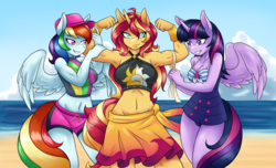 Size: 3200x1940 | Tagged: safe, artist:ambris, rainbow dash, sunset shimmer, twilight sparkle, alicorn, anthro, equestria girls, equestria girls series, forgotten friendship, adorasexy, armpits, beach, bedroom eyes, belly button, biceps, big breasts, board shorts, breasts, busty rainbow dash, busty sunset shimmer, busty twilight sparkle, cleavage, clothes, cute, dashabetes, female, flexing, gunset shimmer, hat, lesbian, looking at you, measuring tape, midriff, muscles, one-piece swimsuit, rainbuff dash, sexy, shimmerbetes, shipping, smiling, smirk, summer sunset, sunset lifter, sunset shimmer gets all the mares, sunsetdash, sunsetsparkle, swimsuit, twiabetes, twilight sparkle (alicorn)