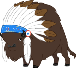 Size: 3571x3218 | Tagged: safe, artist:andoanimalia, chief thunderhooves, buffalo, the art of equestria, cloven hooves, feather, headdress, looking at you, male, simple background, solo, transparent background, vector