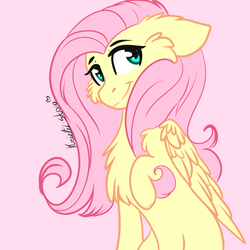 Size: 1000x1000 | Tagged: artist:kriss-studios, cheek fluff, chest fluff, cute, female, floppy ears, fluttershy, folded wings, looking at you, looking sideways, mare, pegasus, pony, raised hoof, safe, shyabetes, simple background, smiling, solo, three quarter view, wings