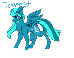 Size: 900x700 | Tagged: artist:foxytthepiratefoxgir, chest fluff, ear piercing, earring, female, jewelry, mare, oc, oc only, oc:tempest (ice1517), pegasus, piercing, pony, redesign, safe, simple background, solo, transparent background