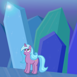 Size: 4000x4000   Tagged: safe, artist:devfield, radiant hope, pony, unicorn, idw, absurd resolution, cave, crystal, crystal caverns, female, gradient background, light, looking up, mare, open mouth, solo, sparkles, surprised, wide eyes