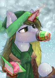 Size: 1888x2666 | Tagged: safe, artist:rrd-artist, oc, oc only, pony, unicorn, clothes, coat, coffee, coffee cup, cold, cup, donut, drinking, food, glowing horn, hat, magic, scarf, snow, solo, telekinesis, winter, ych result