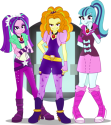 Size: 4376x4939 | Tagged: safe, artist:namygaga, adagio dazzle, aria blaze, sonata dusk, equestria girls, rainbow rocks, absurd resolution, boots, clothes, gem, grin, high heel boots, jewelry, leggings, looking at you, miniskirt, necklace, pants, pigtails, ponytail, shoes, simple background, siren gem, skirt, smiling, the dazzlings, transparent background, twintails