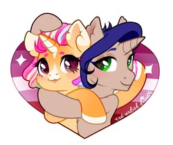 Size: 1280x1071 | Tagged: safe, artist:rrd-artist, oc, oc only, oc:peach donut, pony, unicorn, duo, female, heart, heart eyes, horseshoes, hug, lesbian, lesbian pride flag, mare, simple background, white background, wingding eyes