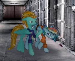 Size: 2594x2119   Tagged: safe, artist:mysteriousshine, lightning dust, rainbow dash, pony, angry, bound wings, clothes, jail, police officer, police uniform, prison, prison outfit, prisoner, prisoner rd, wings