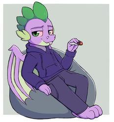 Size: 1518x1637 | Tagged: safe, artist:moozua, spike, anthro, dragon, :p, barefoot, beanbag chair, bloodshot eyes, clothes, drugs, feet, hoodie, looking at you, male, marijuana, older, older spike, silly, solo, stoner spike, teenage spike, teenager, tongue out, winged spike, wings