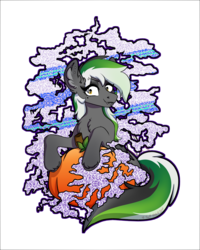 Size: 2000x2500 | Tagged: safe, artist:spoopygander, oc, oc:graphite sketch, pegasus, pony, chest fluff, ear fluff, fangs, female, looking at you, makeup, mare, multicolored hair, piercing, pumpkin, sitting, smiling, smoke, solo, unshorn fetlocks