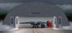 Size: 3600x1677   Tagged: safe, artist:the-furry-railfan, oc, oc only, oc:night strike, pony, air pump, aircraft, clothes, dirt road, door, hangar, jacket, night, plane, snow, snowfall