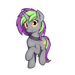Size: 2000x2000 | Tagged: safe, artist:theparagon, oc, oc:frenzy nuke, pony, unicorn, 2019 community collab, derpibooru community collaboration, collar, digital art, female, glowing eyes, looking at you, mare, simple background, solo, standing, transparent background