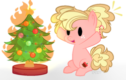Size: 794x506   Tagged: safe, artist:verona-5i, oc, oc:jonathan apple, earth pony, pony, chibi, christmas, christmas tree, female, filly, fire, holiday, magical lesbian spawn, offspring, parent:applejack, parent:pinkie pie, parents:applepie, solo, tree