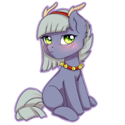 Size: 688x688   Tagged: safe, artist:tokokami, limestone pie, pony, antlers, bell, bell collar, blushing, collar, cute, female, limabetes, looking at you, mare, reindeer antlers, solo