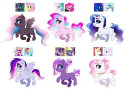 Size: 1600x1146 | Tagged: safe, artist:cascayd, oc, oc only, earth pony, pegasus, pony, unicorn, adoptable, for sale, magical lesbian spawn, offspring, parent:fancypants, parent:fleur-de-lis, parent:fluttershy, parent:pinkie pie, parent:prince blueblood, parent:princess cadance, parent:princess celestia, parent:princess luna, parent:queen chrysalis, parent:rainbow dash, parent:star tracker, parent:twilight sparkle, parents:fleur-de-blueblood, parents:pinkielestia, parents:twitracker